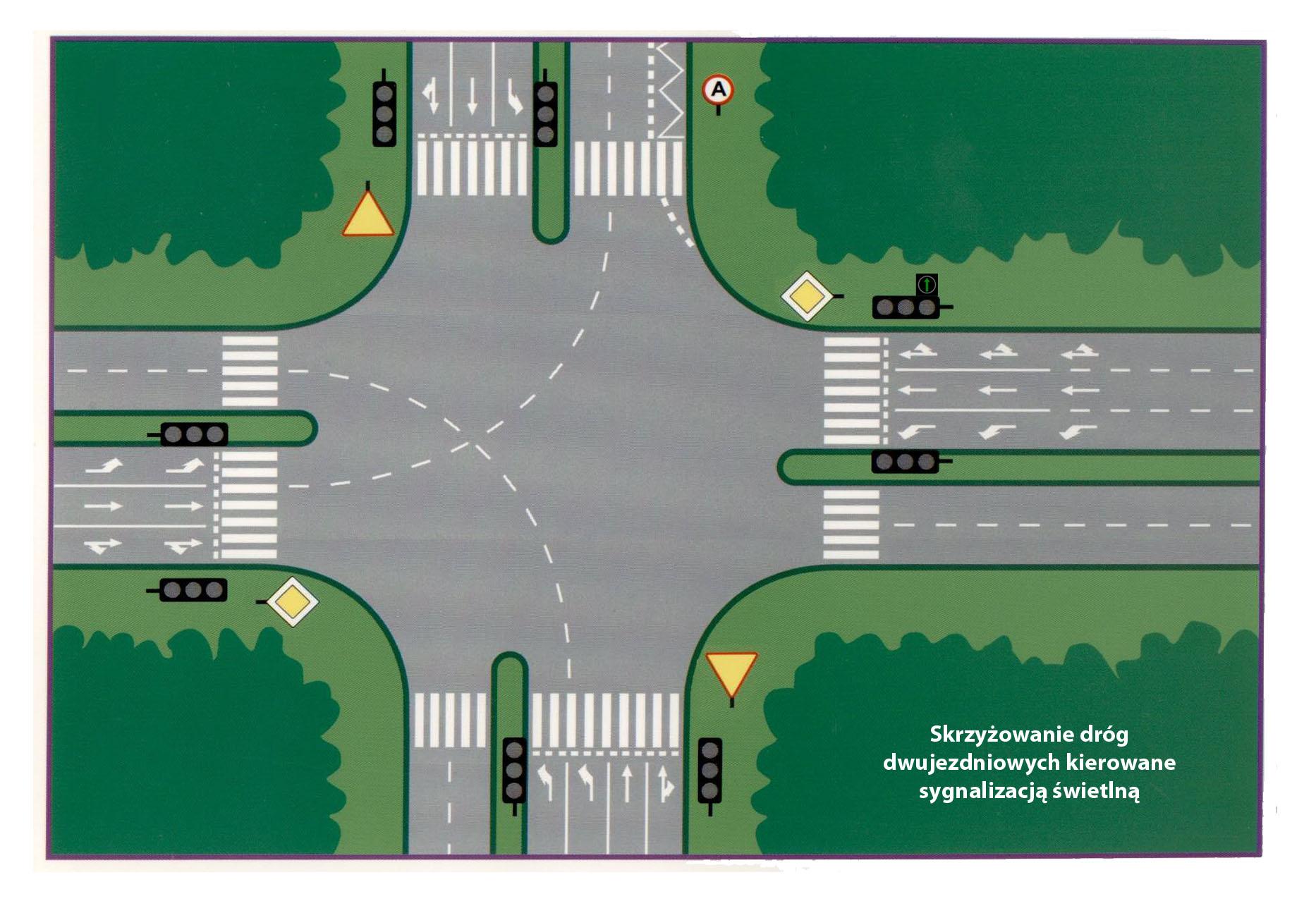 skrzyzowanie dróg dwu ze światłami